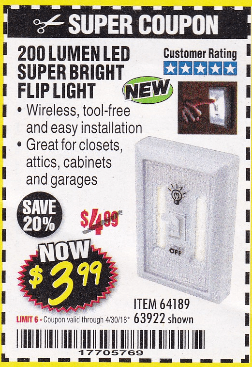 Harbor Freight LED SUPER BRIGHT FLIP LIGHT coupon
