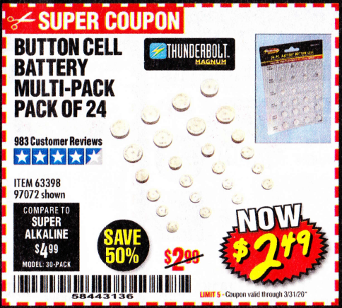 www.hfqpdb.com - BUTTON CELL BATTERY MULTI-PACK PACK OF 24 Lot No. 63398/97072