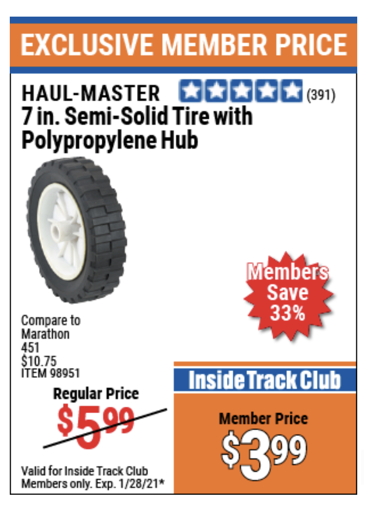"www.hfqpdb.com - 7"" SEMI-SOLID TIRE WITH POLYPROPYLENE HUB Lot No. 98951"