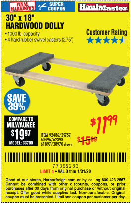 Harbor Freight HARDWOOD MOVER'S DOLLY coupon