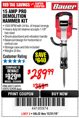 Harbor Freight 15 AMP PRO DEMOLITION HAMMER KIT coupon