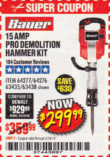 www.hfqpdb.com - 15 AMP PRO DEMOLITION HAMMER KIT Lot No. 63435/63438