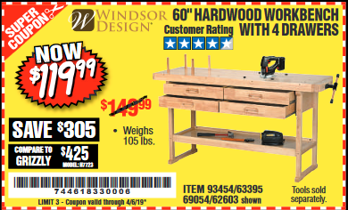 "www.hfqpdb.com - 60"", 4 DRAWER HARDWOOD WORKBENCH Lot No. 63395/93454/69054/62603"