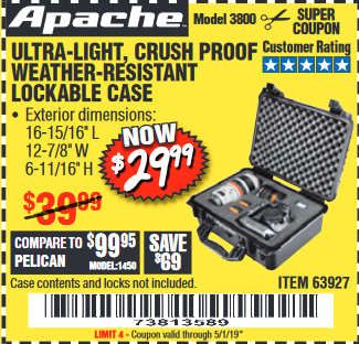 Harbor Freight APACHE 3800 WEATHERPROOF PROTECTIVE CASE coupon