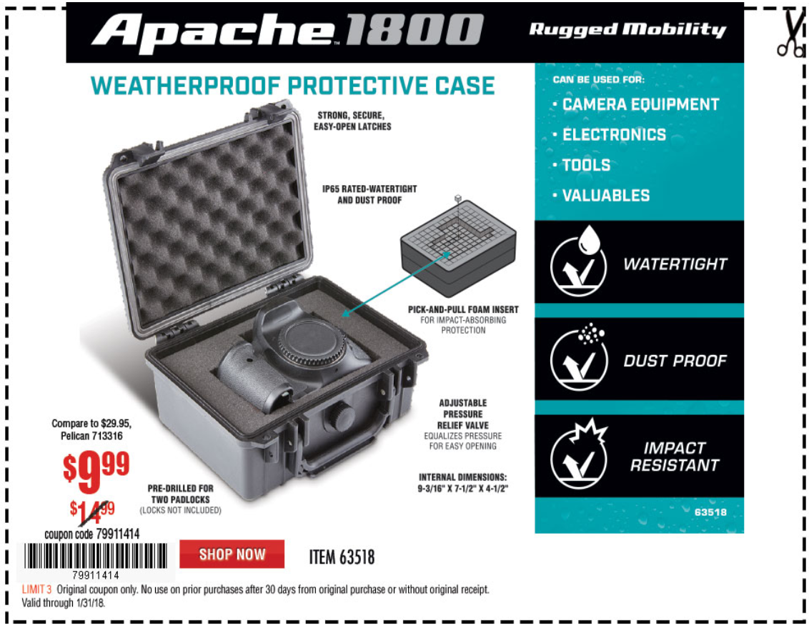 Harbor Freight APACHE 1800 WEATHERPROOF PROTECTIVE CASE coupon