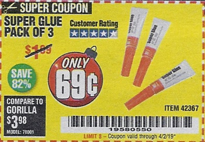 Harbor Freight SUPER GLUE PACK OF 3 coupon