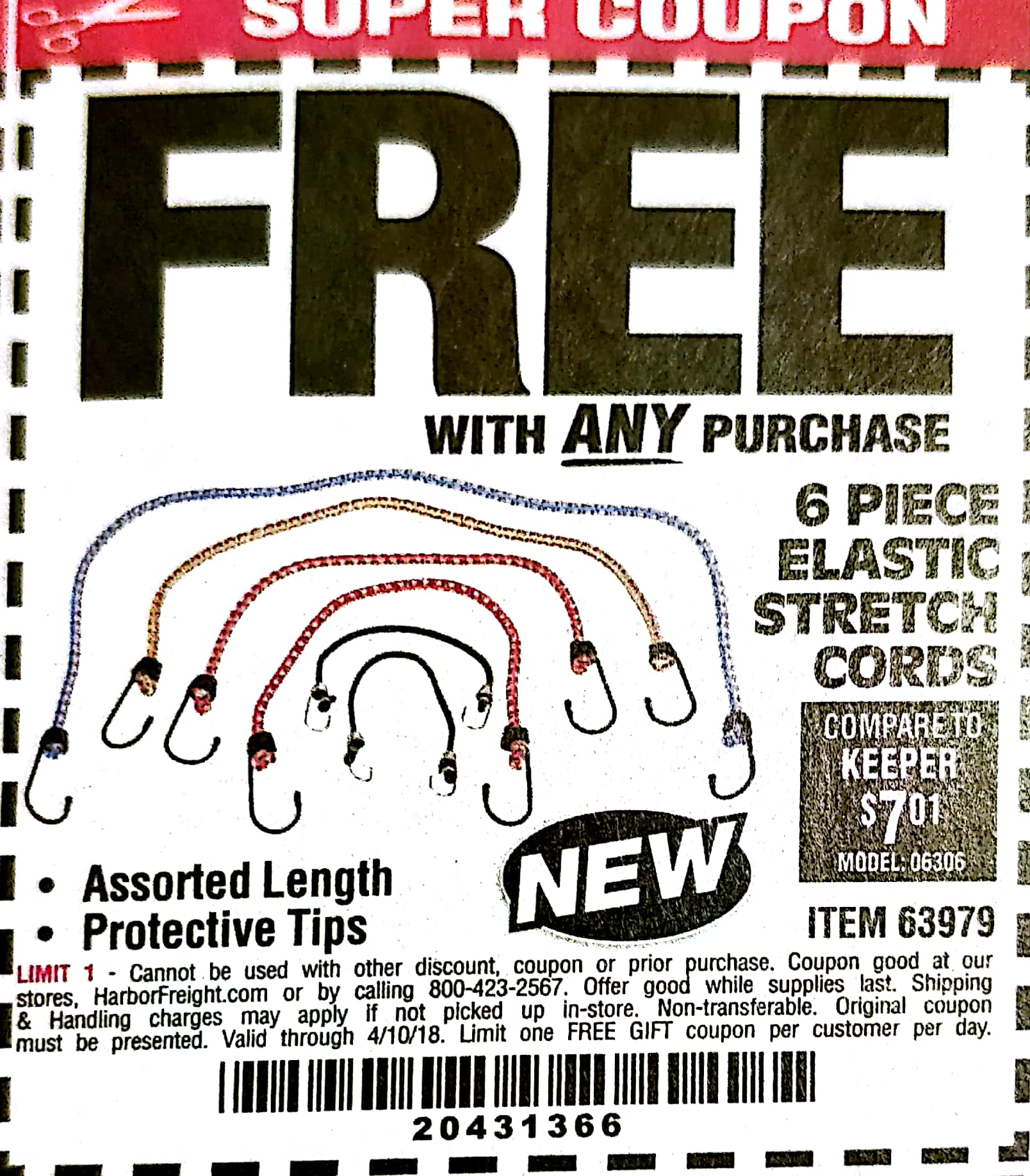 Harbor Freight 6 PIECE ELASTIC STRETCH CORDS coupon
