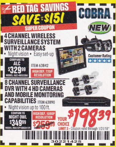 Harbor Freight 4 CHANNEL WIRELESS SURVEILLANCE SYSTEM WITH 2 CAMERAS coupon