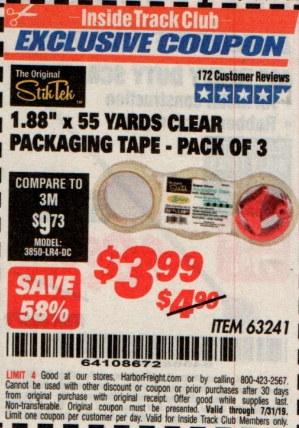 "www.hfqpdb.com - 1.88"" X 55 YARD CLEAR PACKAGING TAPE PACK OF 3 Lot No. 63241"