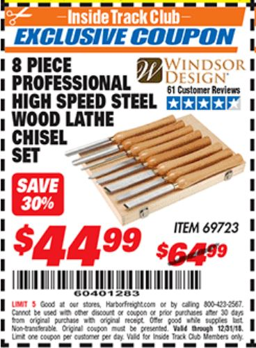 Harbor Freight 8 PIECE PROFESSIONAL HIGH SPEED STEEL WOOD LATHE CHISEL SET coupon