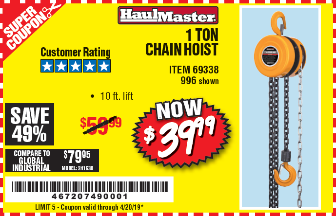 www.hfqpdb.com - 1 TON CHAIN HOIST Lot No. 69338/996