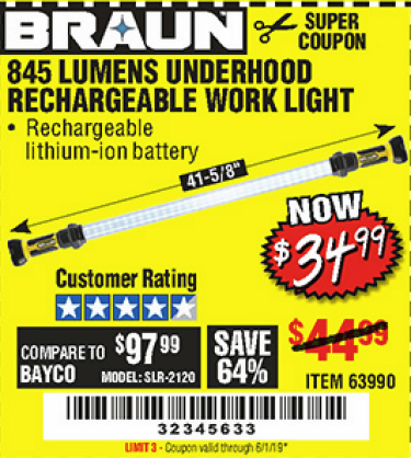 www.hfqpdb.com - 845 LUMEN UNDERHOOD RECHARGEABLE WORK LIGHT Lot No. 63990