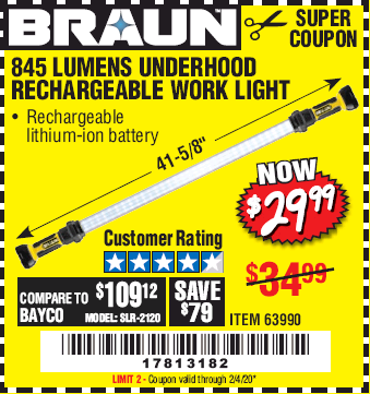 Harbor Freight BRAUN 845 LUMEN UNDERHOOD RECHARGEABLE WORK LIGHT coupon