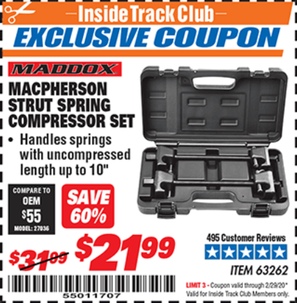 Harbor Freight MACPHERSON STRUT SPRING COMPRESSOR SET coupon