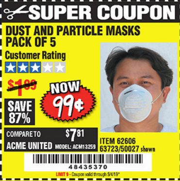 www.hfqpdb.com - DUST AND PARTICLE MASK 5 PACK Lot No. 62606/63723/50027