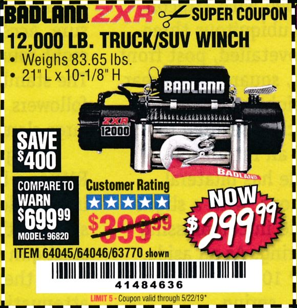 www.hfqpdb.com - BADLAND ZXR12000 12000 LB. OFF-ROAD VEHICLE ELECTRIC WINCH WITH AUTOMATIC LOAD-HOLDING BRAKE Lot No. 64045/64046/63770