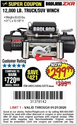 Harbor Freight BADLAND ZXR12000 12000 LB. OFF-ROAD VEHICLE ELECTRIC WINCH WITH AUTOMATIC LOAD-HOLDING BRAKE coupon