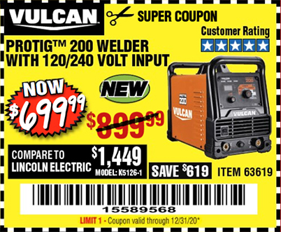 Harbor Freight VULCAN PROTIG 200 WELDER WITH 120/240 VOLT INPUT coupon