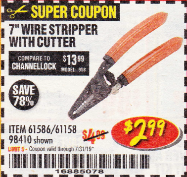 Harbor Freight 7 IN. WIRE STRIPPER WITH CUTTER coupon