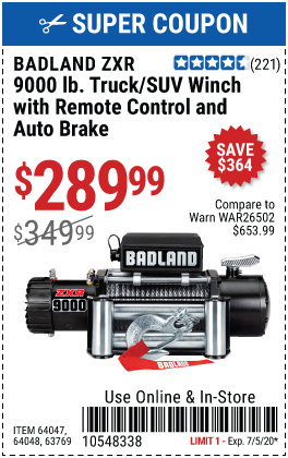 Harbor Freight BADLAND ZXR9000 9000 LB WINCH coupon