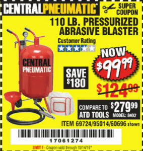 Harbor Freight 110 LB. PRESSURIZED ABRASIVE BLASTER coupon