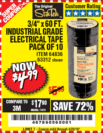 "www.hfqpdb.com - 3/4"" X 60 FT. INDUSTRIAL GRADE ELECTRICAL TAPE PACK OF 10 Lot No. 63312/64836"