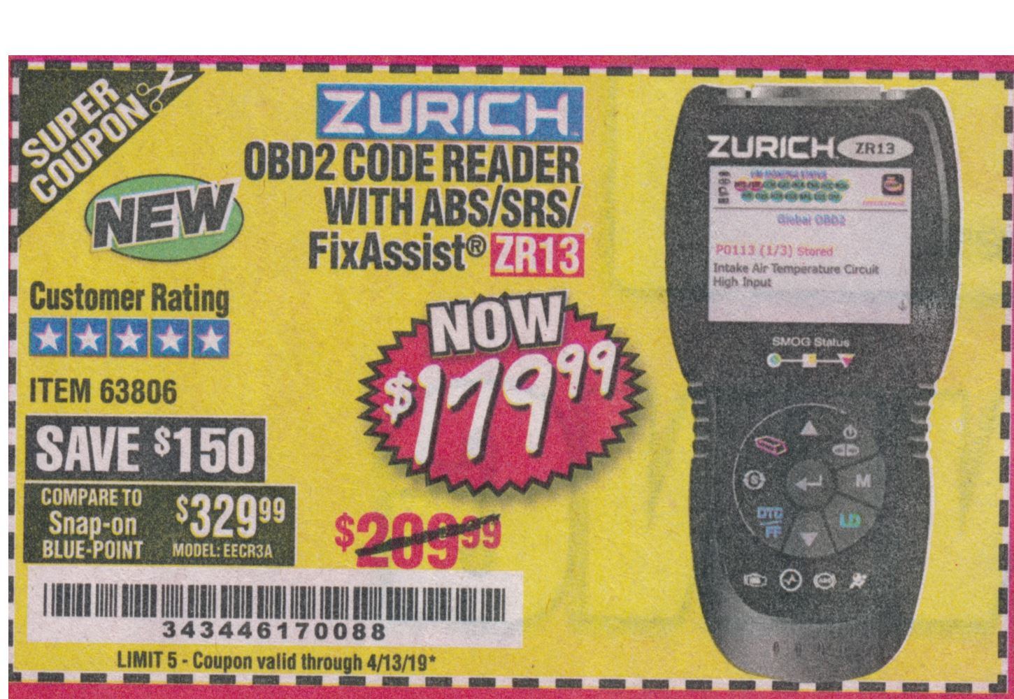 www.hfqpdb.com - ZURICH OBD2 SCANNER WITH ABS ZR13 Lot No. 63806