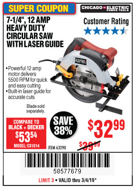 "www.hfqpdb.com - 7-1/4"" CIRCULAR SAW WITH LASER GUIDE SYSTEM Lot No. 69078/61440/95004"