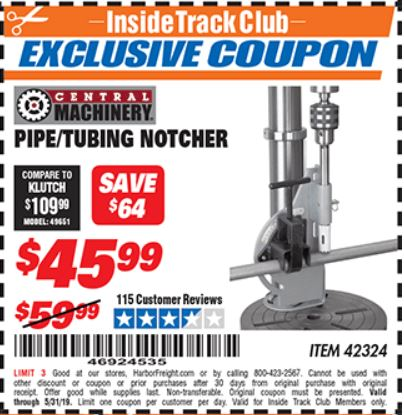 Harbor Freight PIPE/TUBING NOTCHER coupon