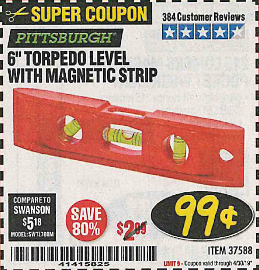 "www.hfqpdb.com - 6"" TORPEDO LEVEL WITH MAGNETIC STRIP Lot No. 37588"