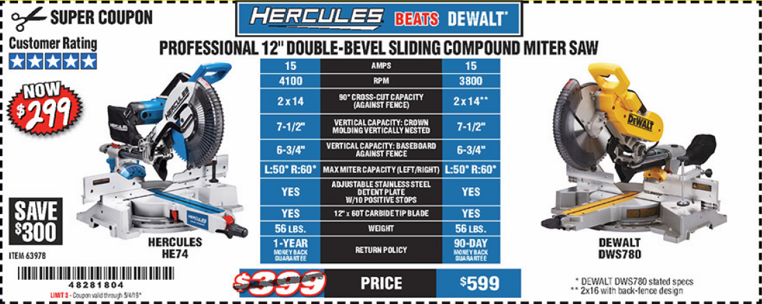 "www.hfqpdb.com - HERCULES PROFESSIONAL 12"" DOUBLE-BEVEL SLIDING MITER SAW Lot No. 63978"