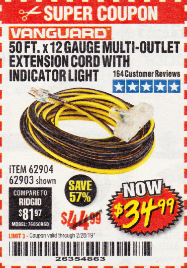 www.hfqpdb.com - 50 FT X 12 GAUGE MULTI-OUTLET EXTENSION CORD WITH INDICATOR LIGHT Lot No. 62904