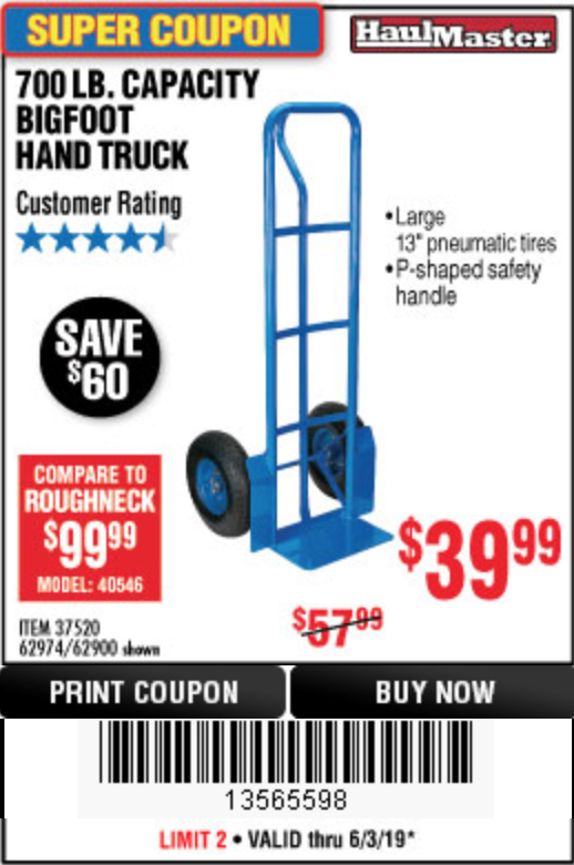 Harbor Freight 700 LB. CAPACITY BIGFOOT HAND TRUCK coupon