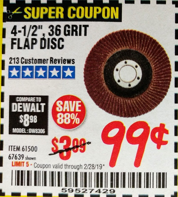 www.hfqpdb.com - 4-1/2 IN. 36 GRIT FLAP DISC Lot No. 61500
