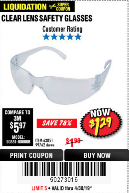 Harbor Freight CLEAR LENS SAFETY GLASSES coupon