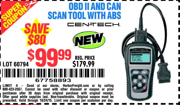 Obd Ii Can Scan Tool With Abs Harbor Freight Tools