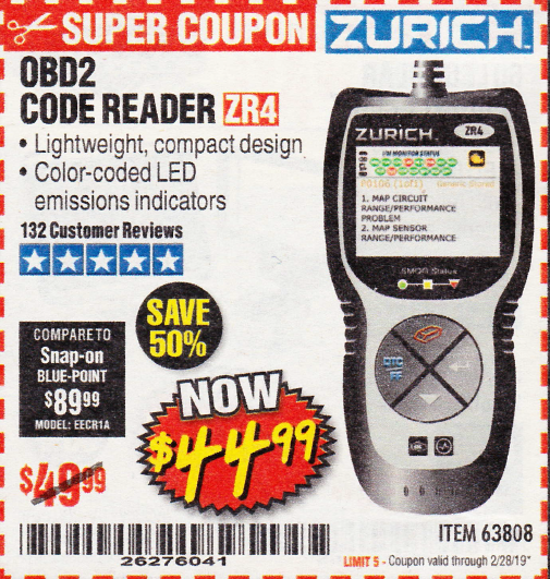 Harbor Freight ZURICH OBD2 CODE READER ZR4 coupon