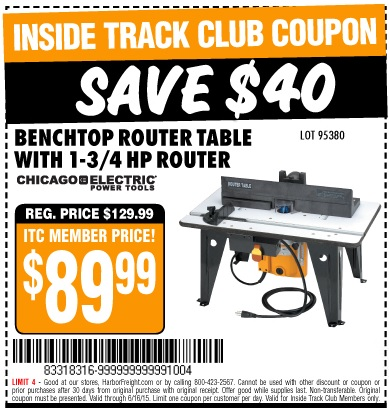 Harbor freight tools coupon database free coupons 25 percent off harbor freight itc coupon benchtop router table with 1 34 hp router lot itc benchtop router table with 1 34 hp router lot no keyboard keysfo Image collections