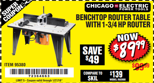 Harbor Freight BENCHTOP ROUTER TABLE WITH 1-3/4 HP ROUTER coupon
