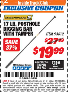 Harbor Freight 17 LB. POSTHOLE DIGGING BAR WITH TAMPER coupon