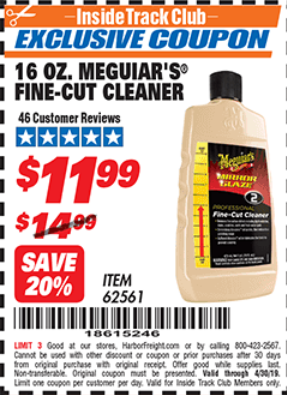 Harbor Freight 16 OZ. MEGUIAR'S FINE-CUT CLEANER coupon