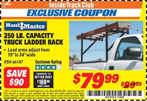Harbor Freight 250 LB. CAPACITY TRUCK LADDER RACK coupon