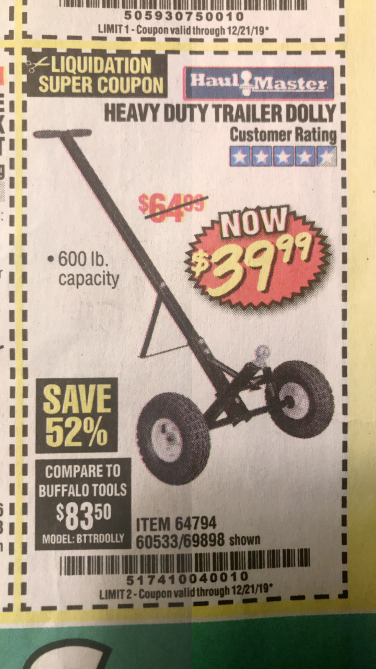Harbor Freight HEAVY DUTY TRAILER DOLLY coupon