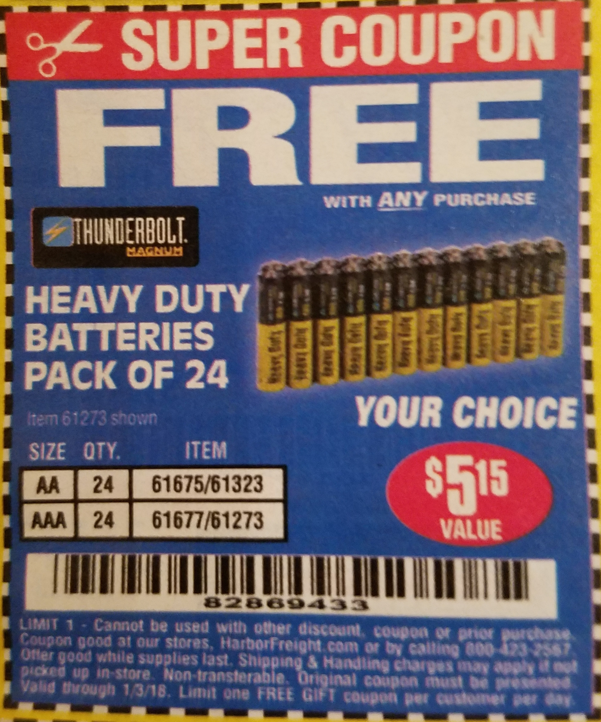 Harbor Freight 24 PACK HEAVY DUTY BATTERIES coupon