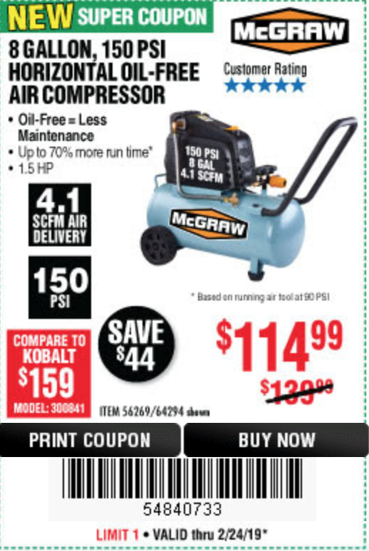www.hfqpdb.com - MCGRAW 150 PSI, 8 GALLON, 1.5 HP HORIZONTAL COMPRESSOR Lot No. 64294/56269