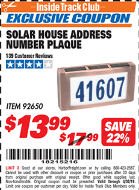 Harbor Freight SOLAR HOUSE ADDRESS NUMBER PLAQUE coupon