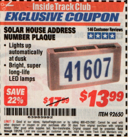 www.hfqpdb.com - SOLAR HOUSE ADDRESS NUMBER PLAQUE Lot No. 92650