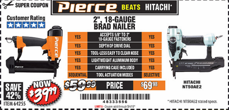 Harbor Freight PIERCE 18 GAUGE BRAD NAILER coupon