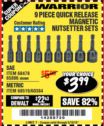Harbor Freight 9 PIECE QUICK CHANGE MAGNETIC NUTSETTER SETS coupon