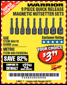 www.hfqpdb.com - 9 PIECE QUICK CHANGE MAGNETIC NUTSETTER SETS Lot No. 65806/68478/68519/60384